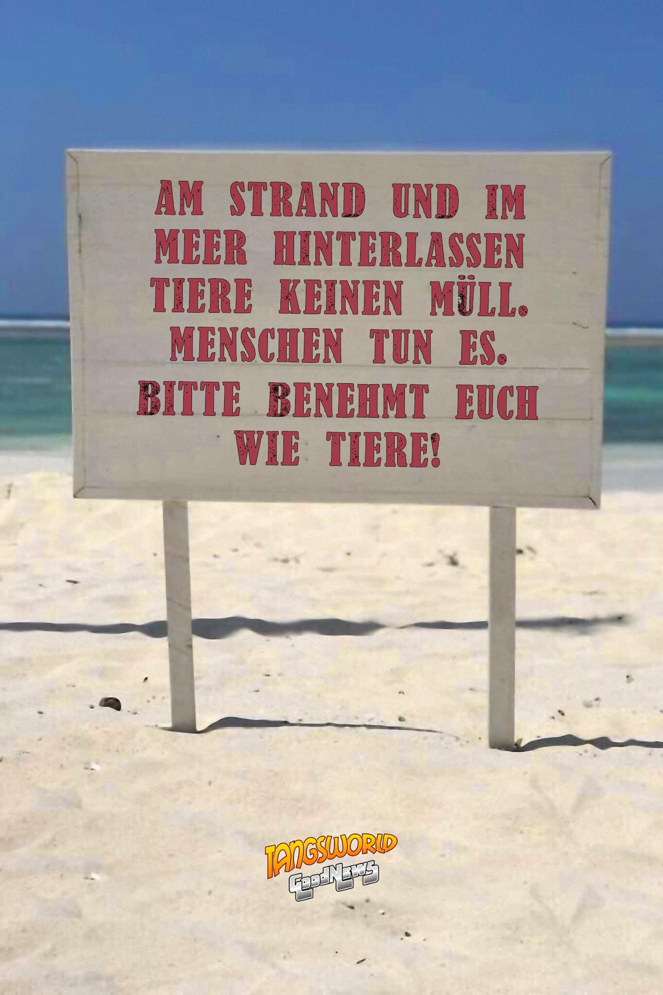 Am Strand und im Meer hinterlassen Tiere keinen Müll. Menschen tun es. Bitte benehmt euch wie Tiere! - GoodNews