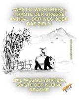 »Was ist wichtiger?«, fragte der große Panda, »der Weg oder das Ziel?« - »Die Weggefährten«, sagte der kleine Drache. - GoodVibes | James Norbury