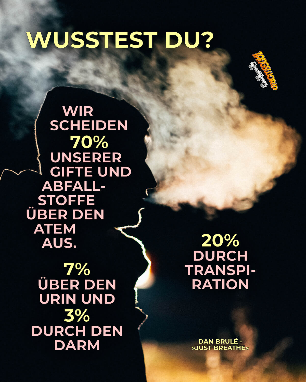 Wusstest du? Wir scheiden 70% unserer Gifte und Abfallstoffe über den Atem aus. 20% durch Transpiration 7% über den Urin und 3% durch den Darm - GoodNews   Dan Brulé - »Just Breathe«
