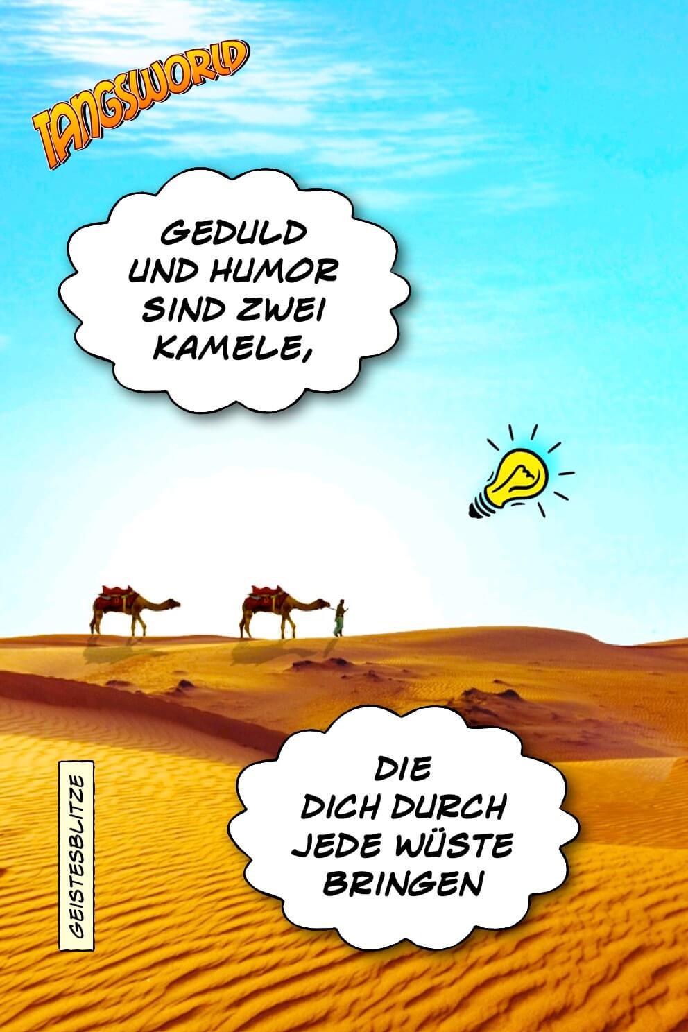 Geduld und Humor sind zwei Kamele, die dich durch jede Wüste bringen. Geistesblitze | Arabische Weisheit