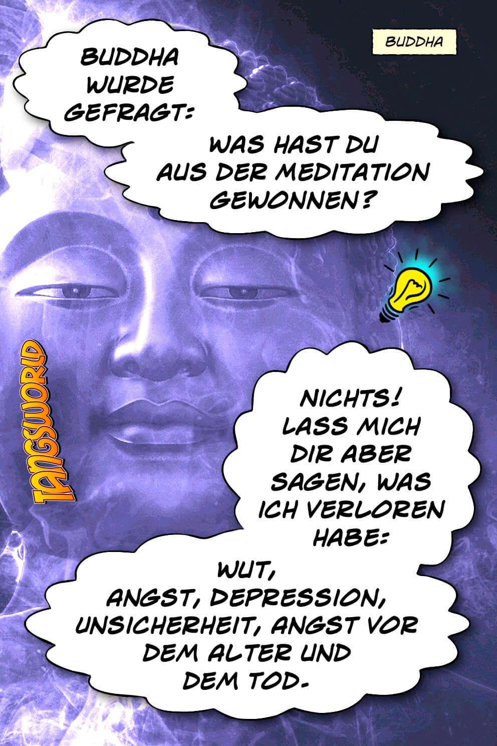 Buddha wurde gefragt: »Was hast du aus der Meditation gewonnen?« Er antwortete: »Nichts! Lass mich dir aber sagen, was ich verloren habe: Wut, Angst, Depression, Unsicherheit, Angst vor dem Alter und dem Tod.« - Geistesblitze | Buddha