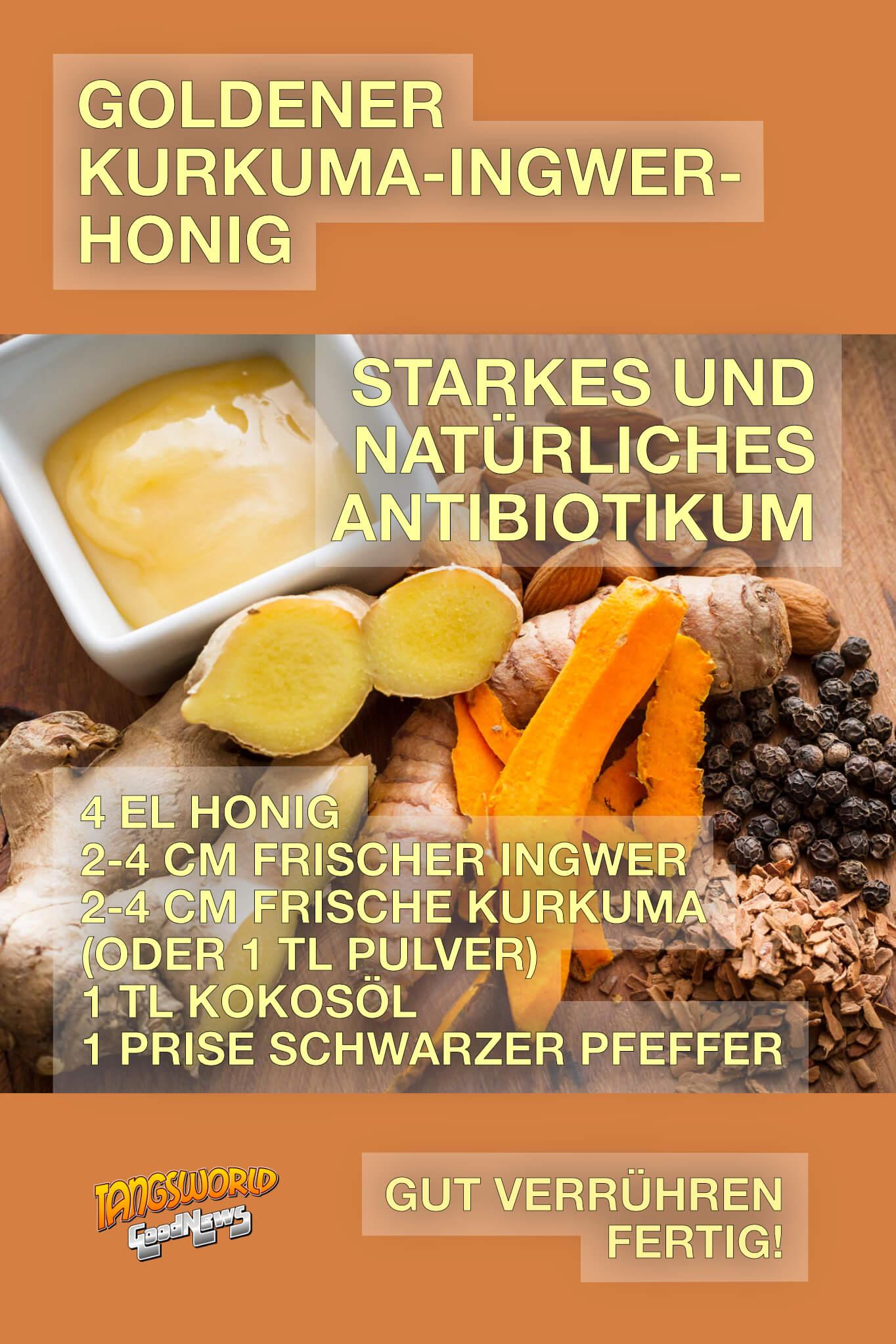 »Goldener Kurkuma-Ingwer-Honig«. In indischen Ayurveda-Schriften findet man dieses uralte Rezept als stärkstes natürliches Antibiotikum. - GoodNews