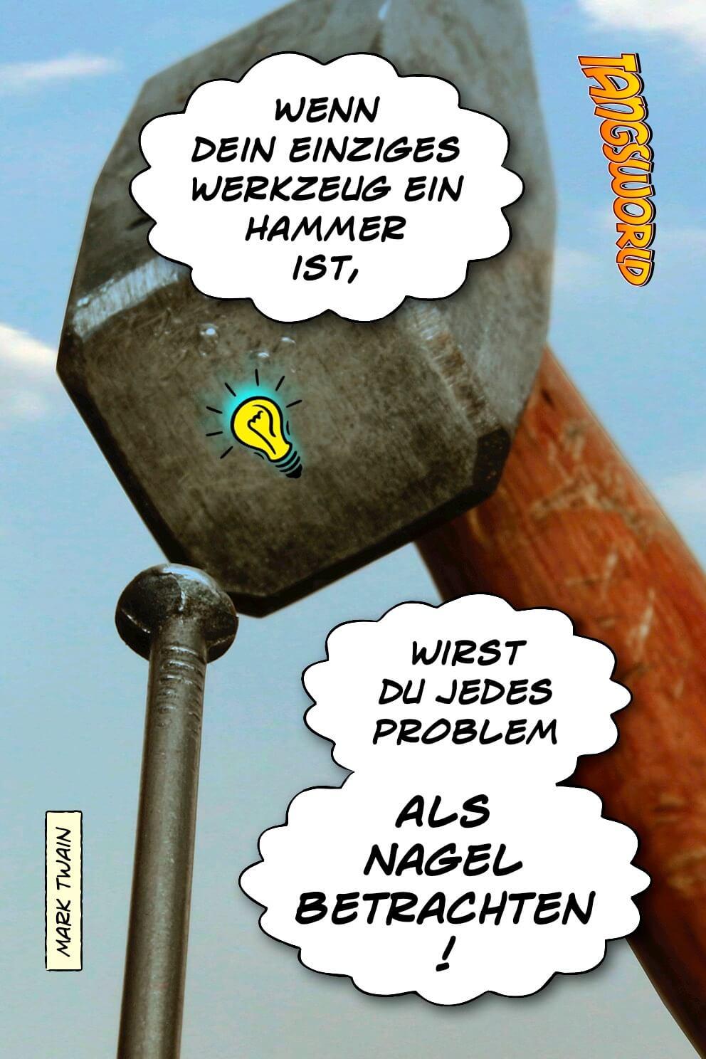 Wenn dein einziges Werkzeug ein Hammer ist, wirst du jedes Problem als Nagel betrachten. - Geistesblitze | Mark Twain