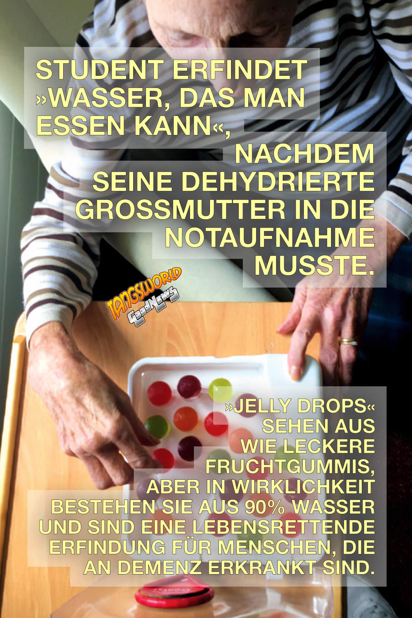 Jelly Drops - Wasser, das man essen kann. Menschen mit Alzheimer und anderen Formen von Demenz fällt es besonders schwer, genug Wasser aufzunehmen. Der junger Erfinder Lewis Hornby hat für sie eine clevere Lösung gefunden. - GoodNews