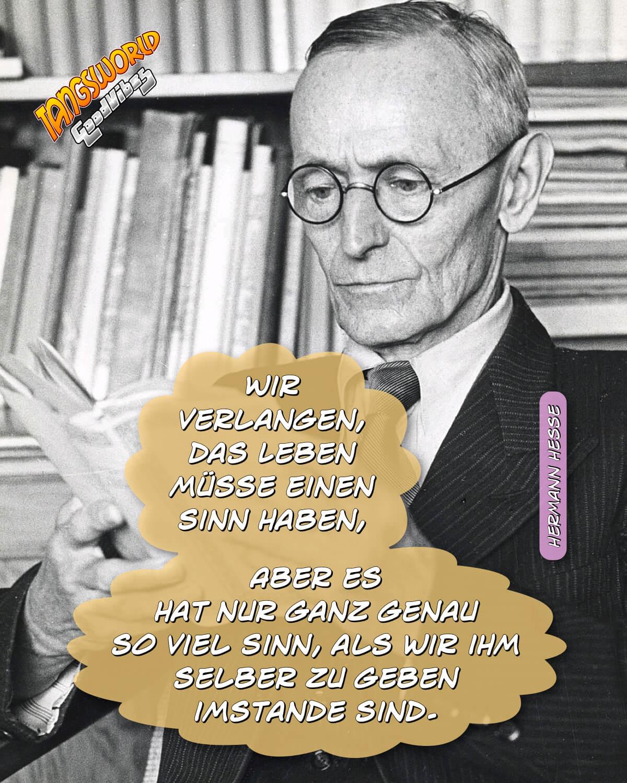 Wir verlangen, das Leben müsse einen Sinn haben. Aber es hat nur ganz genau so viel Sinn, als wir ihm selber zu geben imstande sind. - GoodVibes   Hermann Hesse