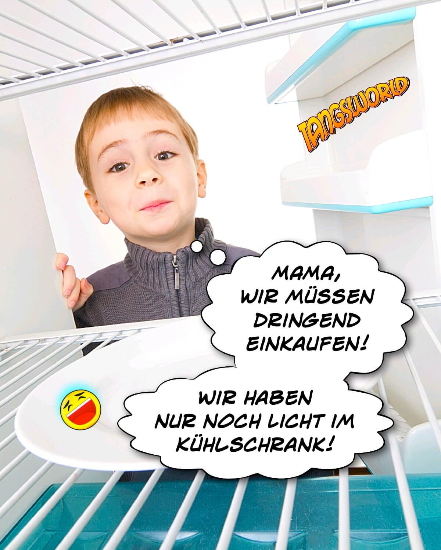 Mama, wir müssen dringend einkaufen! Wir haben nur noch Licht im Kühlschrank! - Geistes(bl)witze | Kindermund