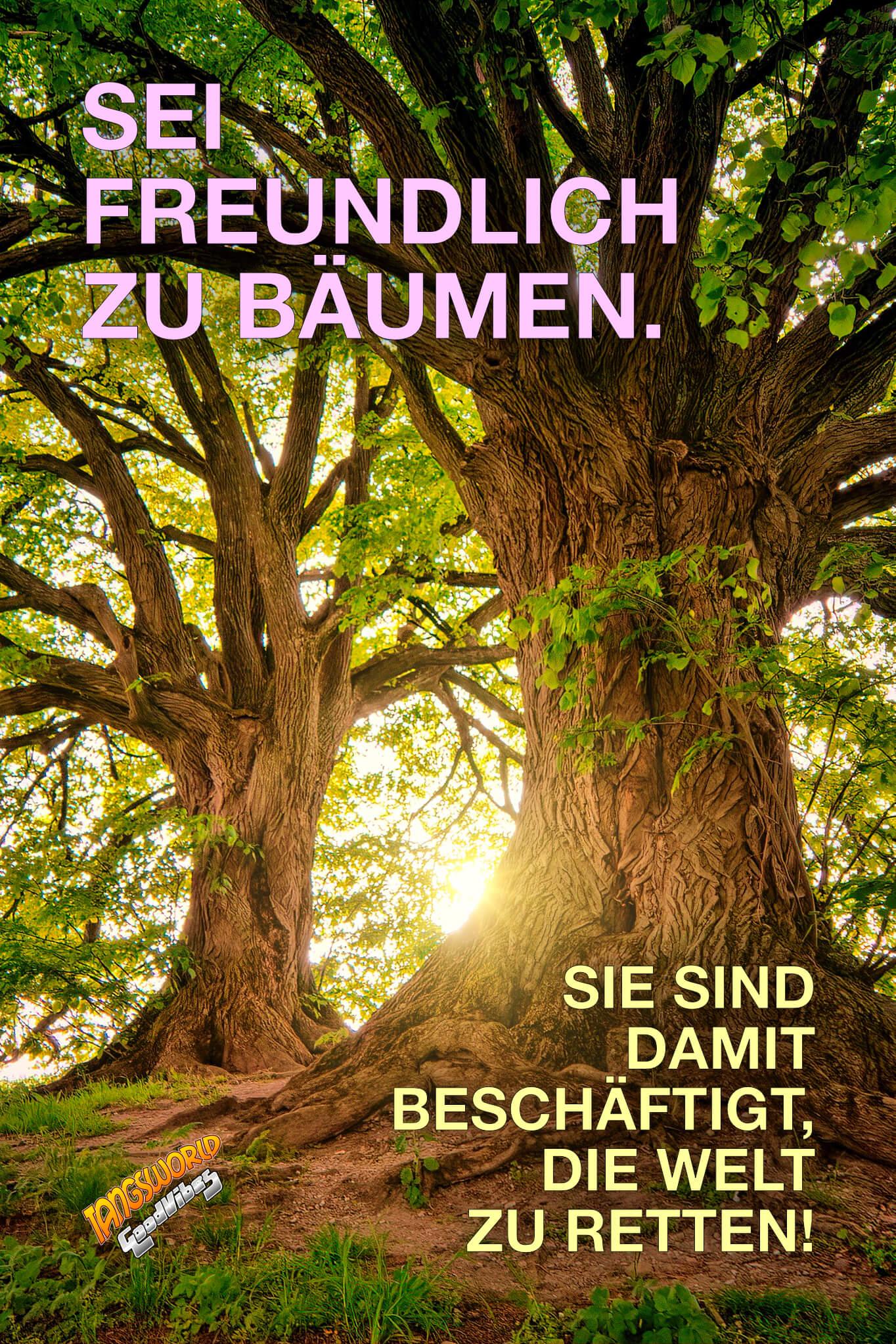 Sei freundlich zu Bäumen. Sie sind damit beschäftigt, die Welt zu retten! - GoodVibes