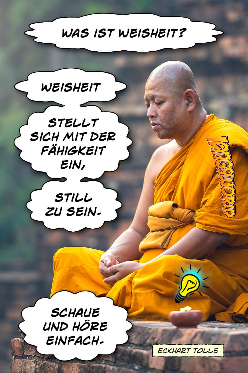 Weisheit stellt sich mit der Fähigkeit ein, still zu sein. Schaue und höre einfach! - Geistesblitze | Eckhart Tolle