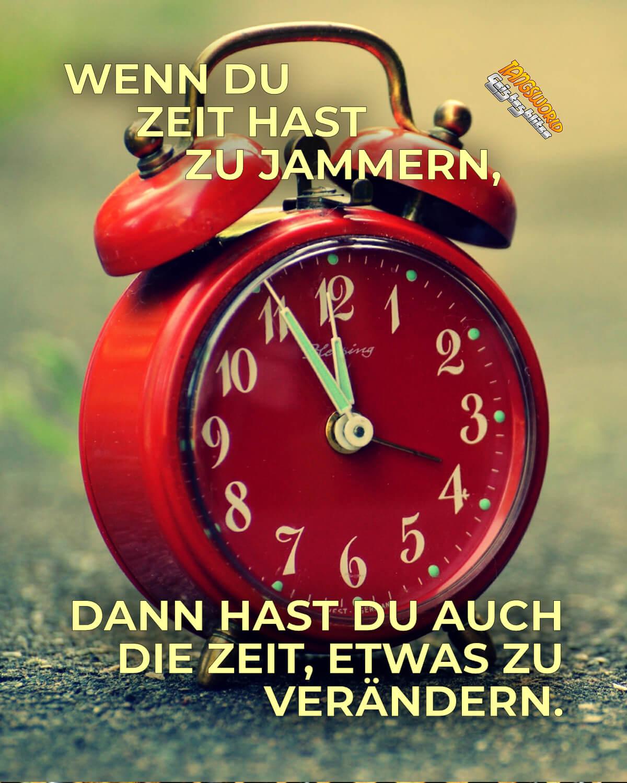 Wenn du Zeit hast zu jammern, dann hast du auch die Zeit, etwas zu verändern. - Geistesblitze